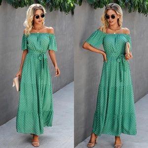 Polka dot off shoulder green  maxi dress